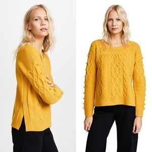 Madewell cable knit mustard pom pom sweater Size L
